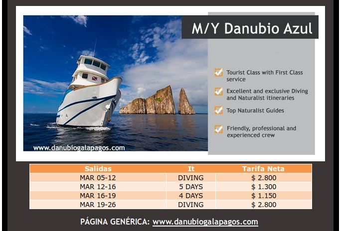 great last minute offers on danubio azul motor yacht cruises in Galapagos