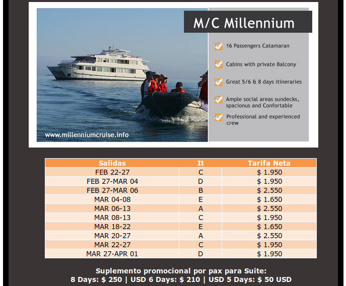 great last minute offers on the Millennium motor yacht cruises in Galapagos