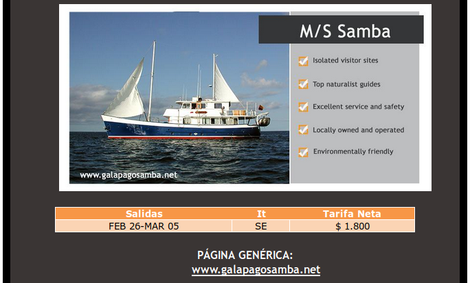 great last minute offers on the Samba motor yacht cruises in Galapagos