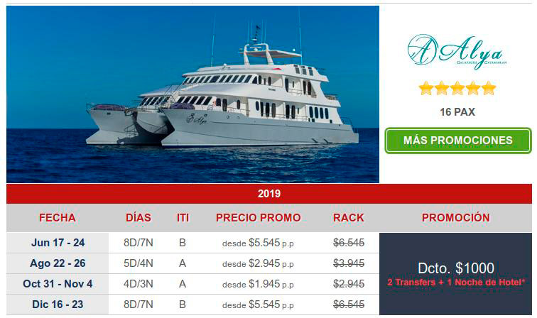 great last minute bargains onthe Alia for Galapagos cruise boats