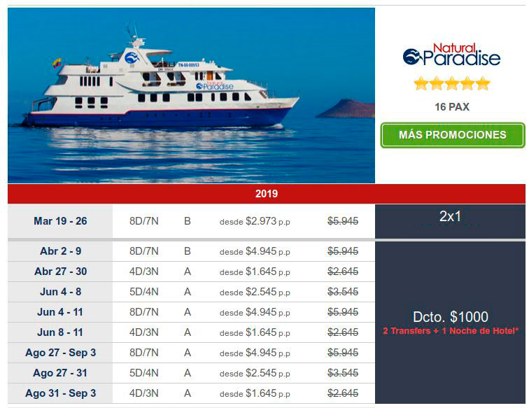 great last minute offers on natural paradise cruises in Galapagos