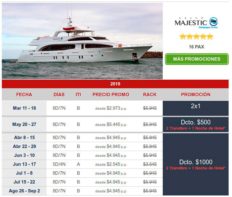 great last minute offers on Galapagos cruises on the Majestic yacht