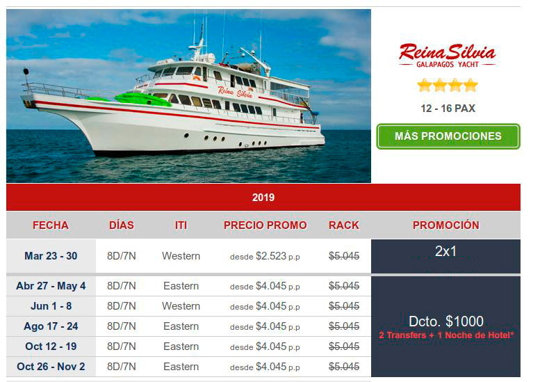 more great last minute bargains on  total luxury Galapagos tours with the Reina Silvia