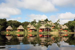 napo wildlife center from across the lagoon in the amazon rainforest of ecuador